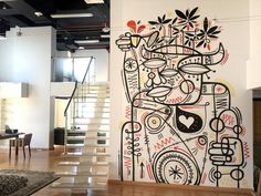 Ruben Sanchez street art.. I love the idea of art painted directly onto interior walls..