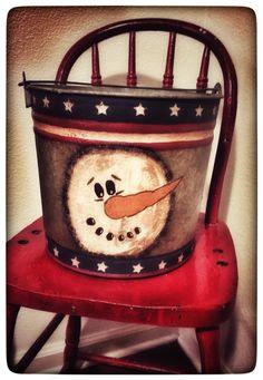 American primitive painted snowman galvanized bucket