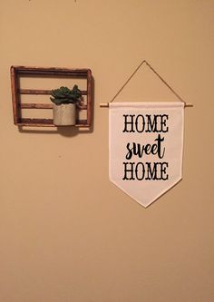 Home Sweet Home Canvas Banner   Handmade   Large   Wall Art   Welcome   Pennant   Flag   Apartment   Modern Home Decor    Wall Hanging