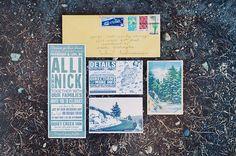Wedding Invitation // Rustic-Meets-Modern Mountain Wedding: Alli + Nick
