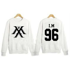 Kpop MONSTA X Sweater I.M Unisex Pullover Hoodie White Jumper... ❤ liked on Polyvore featuring tops, pullover tops, white pullover, cotton pullovers, white top and unisex tops