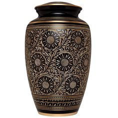 Funeral Urn by Liliane - Cremation Urn for Human Ashes - Hand Made in Brass and Hand Finished - Fits the Cremated Remains of Adults as Well as the ashes of dogs, cats or other pets - Display Burial Urn at Home or in Niche at Columbarium (Marguerites Urn in Black and Gold Design) ** Find out more details by clicking the image : Home Decorative Accessories