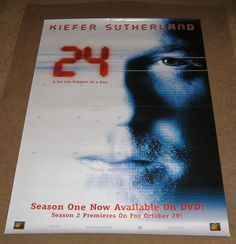 24 Season One Now Available on DVD Movie Poster Tv show 27x40 used
