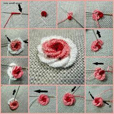 Make a Beautiful Rococo Rose Embroidery: How to Make Paper Christmas Tree Related posts: Hand Embroidery Net Stitch Design For Brazilian Embroidery Stitches, Embroidery Stitches Tutorial, Hand Embroidery Stitches, Crewel Embroidery, Hand Embroidery Designs, Embroidery Techniques, Ribbon Embroidery, Embroidery Thread, Cross Stitch Embroidery