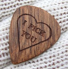 Wood Guitar Pick  Handmade Custom Engraved by NuevoWoodcrafts (before wedding)
