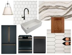My Home | The Kitchen Plans | Copy Cat Chic inspiration for my kitchen renovation. Medium toned wood cabinets paired with white picket tile, matte black appliances with gold, copper and bronze-toned hardware.
