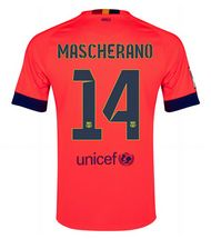 14-15 Football Shirt Barcelona Mascherano #14 Away Pink Replica Jersey [115]