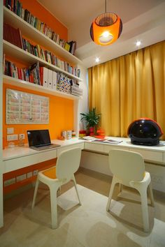 home office ideas--orange = energy