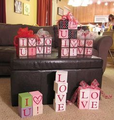 I have some wood blocks sitting around, this is a good idea to use them up wood crafts crafts design crafts diy crafts furniture crafts ideas Valentines Day Decorations, Valentine Day Crafts, Happy Valentines Day, Holiday Crafts, Holiday Fun, Wood Block Crafts, Wood Blocks, Wood Crafts, Valentine's Day Quotes