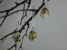 Decoupage Easter Egg Ornaments w/flower vintage paper motif wooden eggs hang on a tree or nestle in a basket by clotheslinecuties on Etsy