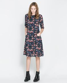 Image 1 of FLORAL DRESS WITH FULL SKIRT from Zara