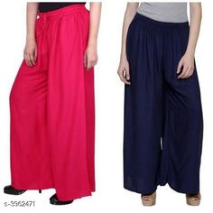 Checkout this latest Palazzos Product Name: *New Fabulous Rayon Women's Palazzos Combo * Fabric: Rayon Waist Size: Up To 28 in To 42 in (Free Size ) Length: Up To 39 in Type: Stitched Description: It Has 2 Pieces Of Women's Palazzos  Pattern: Solid Country of Origin: India Easy Returns Available In Case Of Any Issue   Catalog Rating: ★4 (755)  Catalog Name: Lasafiya Fabulous Rayon Women's Palazzos Combo CatalogID_558946 C79-SC1039 Code: 363-3962471-498