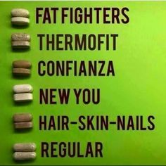 violetholmes.itworks.com  See how the tablets are earth tone colored? That's because they're powered by plants! 100% bioavailable and bioactive. Know the difference.  Fat Fighters: Carb blocker Thermofit: Metabolism boost Confianza: Stress reliever (adaptogen) New You: Muscle Recovery and HGH Hair Skin Nails: Self explanatory Regular: Colon health   Plus much much more! Message me for MY cost!