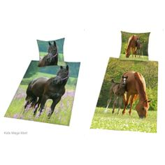 Black Horse or Horse Foal Single Size Doona Quilt Cover Pillowcase Set ~ Available at Kids Mega Mart Shop Australia