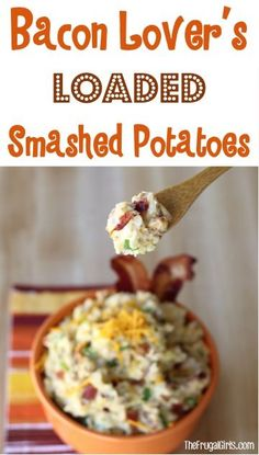 Bacon Lover's Loaded Smashed Potatoes Recipe! ~ from TheFrugalGirls.com - skip the mashed potatoes... and serve some smashed potatoes with dinner and at the holidays! #potato #recipes #thefrugalgirls
