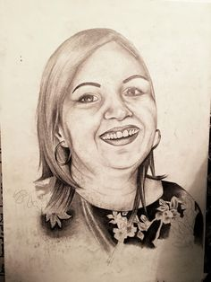 An unfinished portrait of my friend's mom, she came out a little too fat so I never bothered completing this piece.