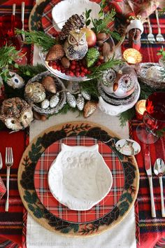 Tartan Happy Owl-idays Table | homeiswheretheboatis.net #plaid #Christmas #tablescape