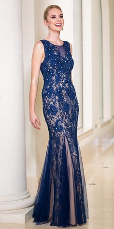 Sean Long Lace Prom Dress 50854. Colors: Navy. Size: 0-12