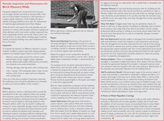 Periodic Inspection and Maintenance for Brick Masonry Walls - from the Hoffmann Architects Journal. Brick Masonry, Masonry Wall, Masonry Construction, Architects Journal, Walls, Design, Brickwork