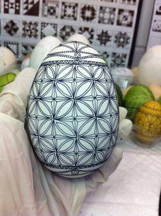 Initial waxing of a Ukrainian goose egg...by Theresa Somerset of Precision Studio http://www.precisionartstudio.com