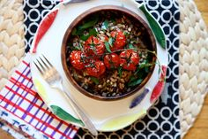 farro with roasted tomatoes and caramelized onions. making this ASAP.
