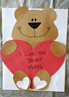 Mothers Day Crafts For Kids Discover Love You Beary Much Craft Template Preschool Valentine Crafts, Kinder Valentines, Bear Crafts, Valentine's Day Crafts For Kids, Bear Valentines, Animal Crafts For Kids, Valentines Day Activities, Toddler Crafts, Homemade Valentines
