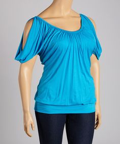 Another great find on #zulily! Turquoise Cutout Scoop Neck Top - Plus #zulilyfinds
