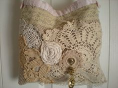 Bohemian Shabby Chic Gypsy Lace Tote - Vintage Inspired Lace Purse - Beige and Cream Linens and Lace Bag - Crossbody