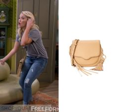 "Young & Hungry: Season 5 Episode 6 Gabi's Beige Tassel Bag | Shop Your TV by Kirsty0 Comments Gabi Diamond (Emily Osment) wears this light colored beige cross body fringe bag in this episode of Young & Hungry, ""Young & Couchy"". It is the Rebecca Minkoff Mini Suki Saddle Bag."