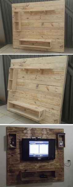 51 Mind Blowing Pallet Furniture Ideas 2019 Pallet wall tv stand projects The - Pallet Projects Pallet Furniture Bench, Diy Furniture Nightstand, Furniture Ideas, Garden Furniture, Pallet Wall Bedroom, Pallet Walls, Bedroom Tv Stand, Diy Pallet Wall, Bedroom Rustic