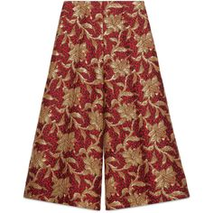 Gucci Floral Jacquard Culotte (1,805 CAD) ❤ liked on Polyvore featuring pants, capris, floral trousers, gucci pants, cropped pants, red pants and wide-leg trousers