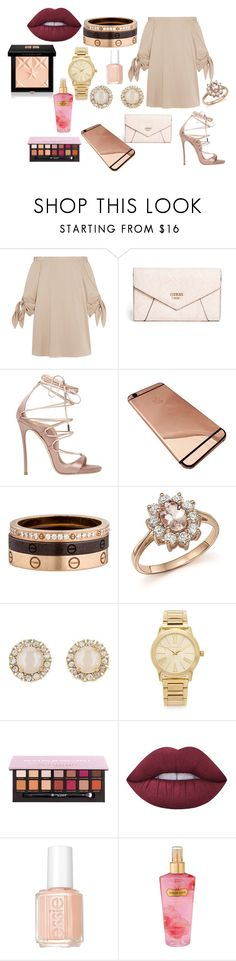 """PINK"" by mirela-r13 on Polyvore featuring TIBI, GUESS, Dsquared2, Cartier, Bloomingdale's, Kate Spade, Michael Kors, Anastasia Beverly Hills, Lime Crime and Essie"