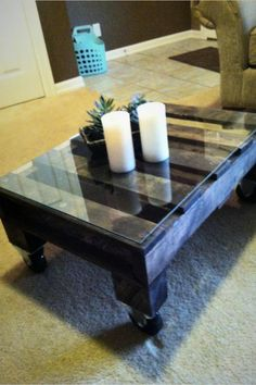$140 - Pallet coffe table.  Great idea for the basement.