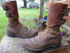 Vintage WW2 1945 Corcoran Brown Leather Top Double Buckle Jump Boots Sz 9 B | eBay