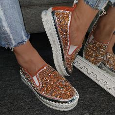 Womens Slip On Loafers Sneakers Platform Heel Shiny Bling Sequins Shoes Plus SZ