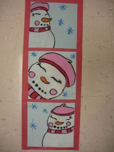 snow people triptych, great lesson to talk about framing- winter concert hall decoration  4th grade