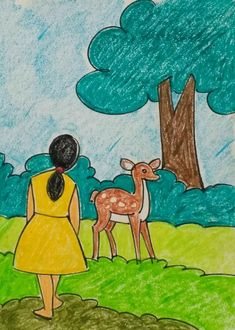 Drawing Images For Kids, Nature Drawing For Kids, Cartoon Drawing For Kids, Easy Scenery Drawing, Bunny Drawing, Easy Drawings For Kids, Art Drawings Sketches Simple, Painting For Kids, Cartoon Drawings
