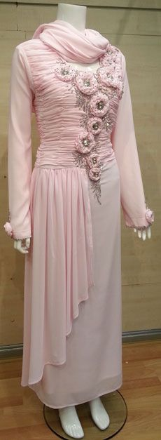 Pink Flower Jilbab Crafted with elaborate shimmering beading, this Jilbaab is the perfect picture of intricate elegance. Islamic Clothing, Pink Flowers, Beading, Elegant, Stylish, Pretty, Crafts, Clothes, Design