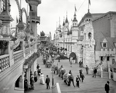 "New York circa 1905. ""Coney Island -- Luna Park promenade."" Elephants on parade. 8x10 inch glass negative, Detroit Publishing Company.Shorpy Historical Photo Archive"