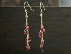 Garnet Gold Filled Dangle Earrings by nuubynuch on Etsy, $75.00