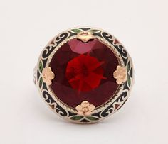 Art Deco Garnet Enamel Ring | From a unique collection of vintage dome rings at https://www.1stdibs.com/jewelry/rings/dome-rings/