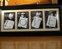 """Photographs with simple letters turn into a classy and memorable wall decoration. You can customize the letters to spell whatever you would like. Think """"Mom"""", """"We Love You"""", and more. The possibilities are endless!"""