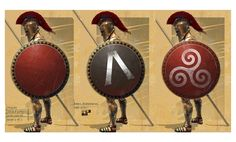illustration of adam hook showing a macedonian greek warrior from the army of alexander the great Spartan Race Logo, Spartan Shield, Spartan Warrior, Greek Shield, Roman Shield, Roman Armor, Greek History, Ancient History, Art History