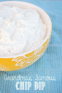 Grandma's Famous Chip Dip...this is so easy and fast and so yummy!   and only 3 ingredients!!.1- 8 oz. package of cream cheese  1 16 oz. package of cottage cheese  1 package of Ranch dressing mix.....