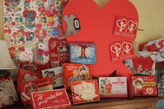 Part of my collection of vintage valentine card boxes