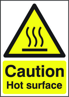 Danger: hot surface sign.  Beaverswood - Identification Solutions