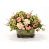Found it at Wayfair - Silk Roses, Peonies and Hydrangeas in Oval Glass Bowl