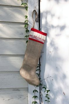 Ruffles and Lace Rustic Burlap Christmas Stocking Plain by elgies, $22.00