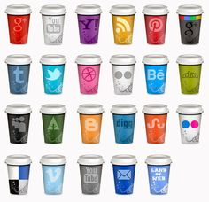 "Land-of-web – All about web design » Freebie: UPDATE Set of Social Icons ""Takeout Coffee Cup"""