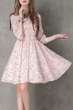 Tiny floral Print, Peter Pan Collar, Dress.